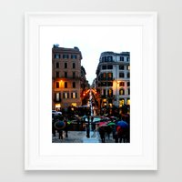 Framed Art Print featuring Rain in Rome in Colour by Amy Taylor