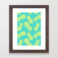 Pineapple Pattern - Turquoise & Lemon Framed Art Print