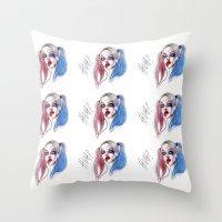 Throw Pillow featuring Margot as Harley quinn Fan art by Lucas David