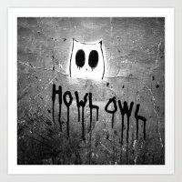 Howl Owl Graffiti Art Print