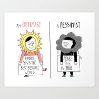 Optimist Vs Pessimist Art Print