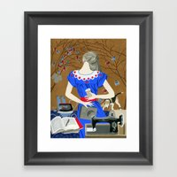 Lady in a blue dress Framed Art Print
