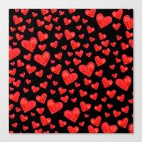 Hearts Motif Black Canvas Print