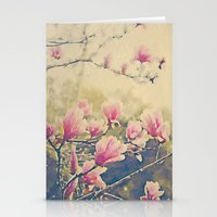 Magnolia Tulip Tree in Spring -- Painterly in Vintage Tones Stationery Cards