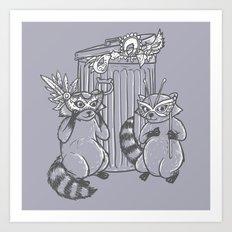 Fancy Raccoons Art Print