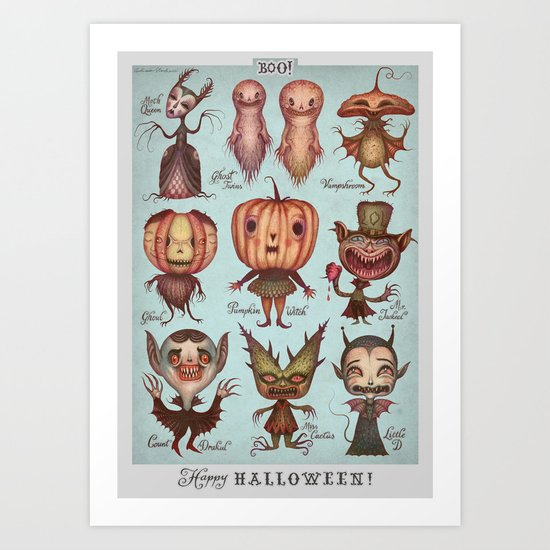 Sunday's Society6 | Happy Halloween monster art print