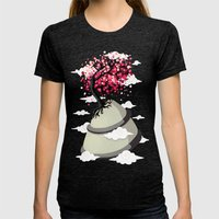 Cherry Blossom Womens Fitted Tee Tri-Black SMALL