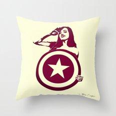 Captain Girl America Throw Pillow