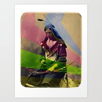 native american Art Prints featuring Native American by Owen Addicott