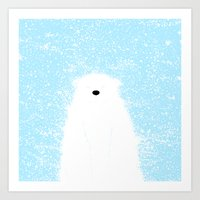 Its A Polar Bear Blinking In A Blizzard - Blue Art Print