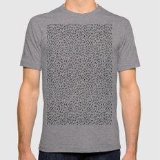 Black and White Spots Mens Fitted Tee Athletic Grey SMALL