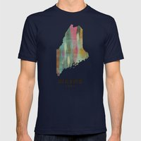 Maine State Map Modern Mens Fitted Tee Navy SMALL