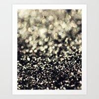 Black And Silver Glitter Art Print