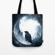 The Crow And Its Moon. (… Tote Bag