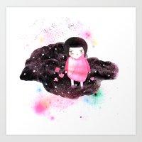 Girl In Cloud Art Print