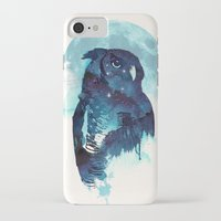 owls iPhone & iPod Cases featuring Midnight Owl by Robert Farkas