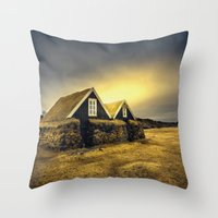 Old Huts Throw Pillow