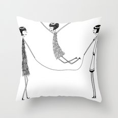 Flappers playing jump rope Throw Pillow