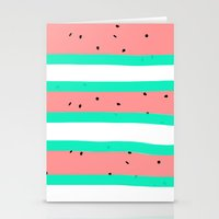 Summer bright coral mint watermelon stripe pattern Stationery Cards