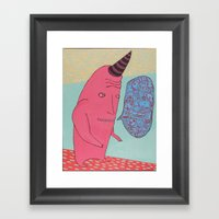 I am not a unicorn, I am not a narwhal, I am not a rhinoceros, For I am not a hero. Framed Art Print