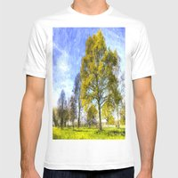 English Summer Farm Art Mens Fitted Tee White SMALL