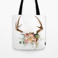 Floral Antlers V Tote Bag