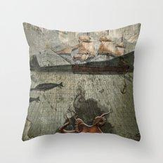 paper III :: octopus/ship Throw Pillow