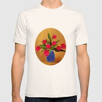 Pink Tulips Mens Fitted Tee Natural SMALL