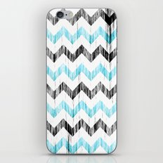 Grunge Chevron black/white/cyan iPhone & iPod Skin