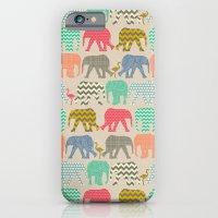 baby elephants and flamingos linen iPhone 6 Slim Case