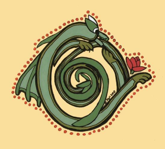 Celtic Dragon Letter O Art Print