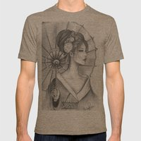 Elegant Oriental Japanese Geisha by Ashley Rose Standish Mens Fitted Tee Tri-Coffee SMALL