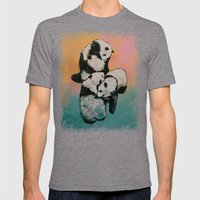 Panda Street Fight Mens Fitted Tee Tri-Grey SMALL