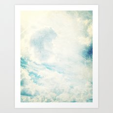 Somewhere   Beautiful Fluffy Clouds  Art Print