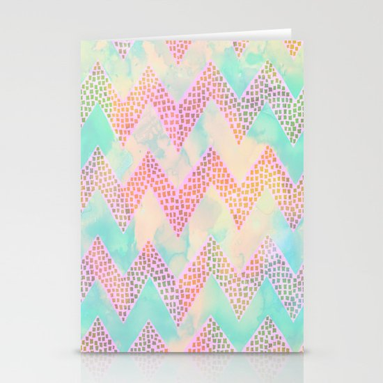 Little Squares Chevron - Pastel Stationery Card