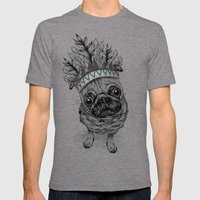 Indian Pug  Mens Fitted Tee Tri-Grey SMALL
