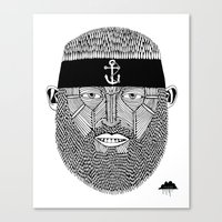 The One Armed Sushi Chef (Bearded Man Wearing Anchor Headband) Canvas Print