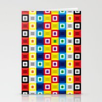 Squares Pattern Stationery Cards