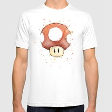 Red Mushroom Watercolor Mario Art Mens Fitted Tee SMALL White