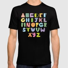 Dogs alphabet Mens Fitted Tee SMALL Black