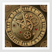 Steampunk clock gold Art Print