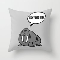 Angry Walrus Throw Pillow