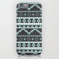 Aztec Pattern 2 Gray & Teal iPhone 6 Slim Case