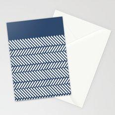 Herringbone Boarder Navy Stationery Cards