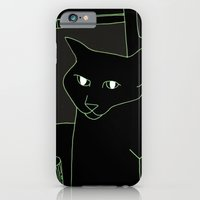 iPhone & iPod Case featuring Neon Black Cat Shoulder Piece by Kelly Reynolds