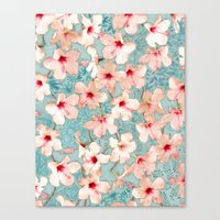 Shabby Chic Hibiscus Patchwork Pattern in Peach & Mint Canvas Print