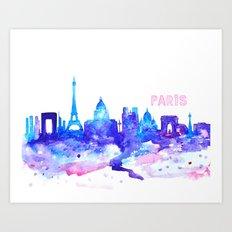 City, Paris, Watercolor Art Print