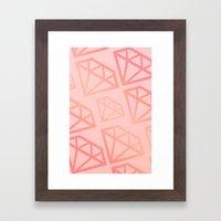 DIAMOND PATTERN - PINK Framed Art Print