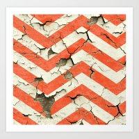 Peeling Chevrons Orange Art Print