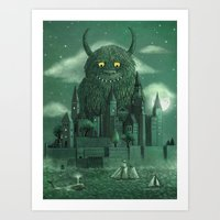 monster Art Prints featuring Age of the Giants  by Terry Fan